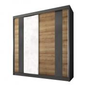 Skříň s posuvnými dveřmi, dub riviera zlaty / grafit, MANNO 2D