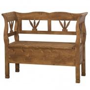 Dřevěná lavice s úložným prostorem HONEY - vosk - výběr moření