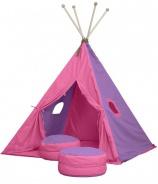 Velký textilní stan TEEPEE 150x210cm - růžová / fialová