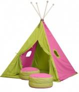 Velký textilní stan TEEPEE 150x210cm - růžová / zelená