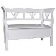 Dřevěná lavice s úložným prostorem HONEY - tmavá patina - výběr hlavní barvy