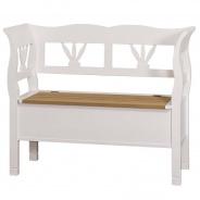Dřevěná lavice s úložným prostorem HONEY, bílá - dubový sedák - výběr moření sedáku