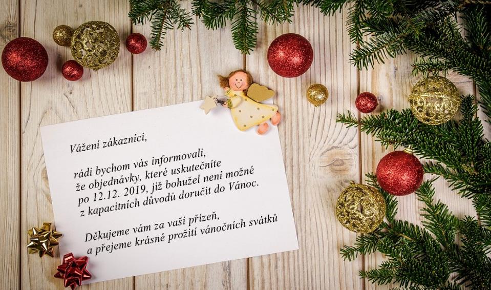 Informace ohledně doručení zboží do Vánoc
